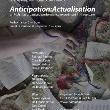 Anticipation : Actualisation, live performance & panel discussion |  NCAD Gallery  100 Thomas Street Dublin 8 | Wednesday 21 March 2018 | to