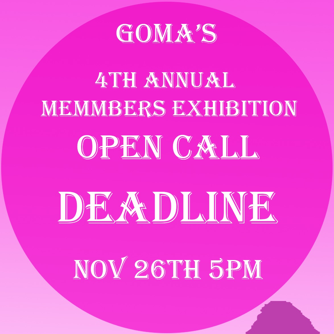 Call for submissions |  GOMA Gallery of Modern Art   6 Lombard Street Waterford  |  deadline: Tuesday 26 November | to 2019-11-26
